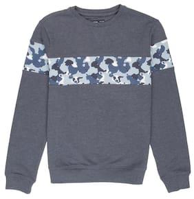 Flying Machine Boy Polyester Solid Sweatshirt - Blue