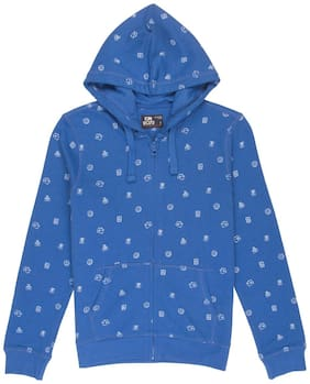 Flying Machine Boy Cotton Solid Sweatshirt - Blue