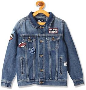Flying Machine Boy Cotton Solid Winter jacket - Blue