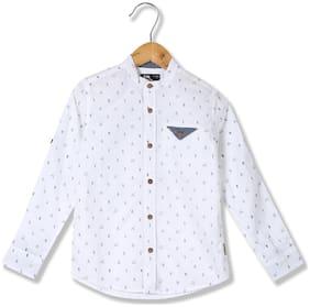 Flying Machine Boy Cotton Printed Shirt White