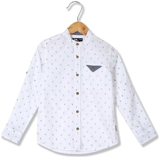 Flying Machine Boy Cotton Printed Shirt White
