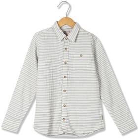 Flying Machine Boy Cotton Striped Shirt White