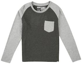 Flying Machine Boy Cotton Solid T-shirt - Grey