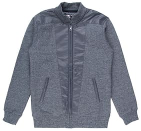 Flying Machine Boy Cotton Solid Sweater - Blue