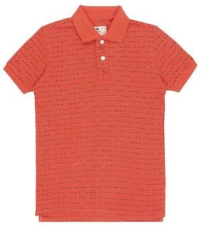 FM Boys Orange Cotton Regular Boys Printed Pique Polo Shirt