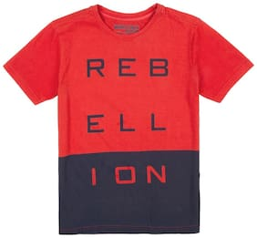 Flying Machine Boy Cotton Solid T-shirt - Red
