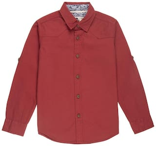 Flying Machine Boy Cotton Solid Shirt Red