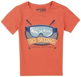 Flying Machine Boy Cotton Printed T-shirt - Red