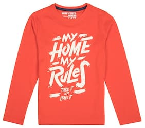 FM Boys Red Cotton Slim Boys Long Sleeve Round Neck T-Shirt