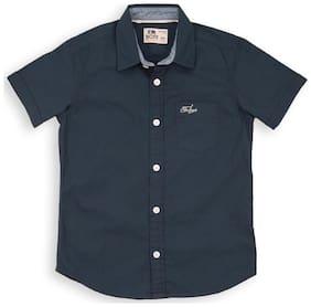Flying Machine Boy Cotton Solid Shirt Blue