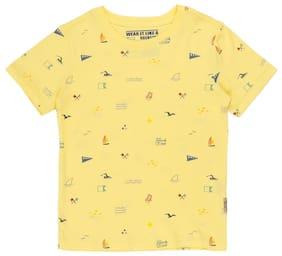 Flying Machine Boy Cotton Solid T-shirt - Yellow