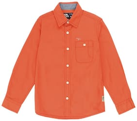 Flying Machine Boy Cotton Solid Shirt Orange