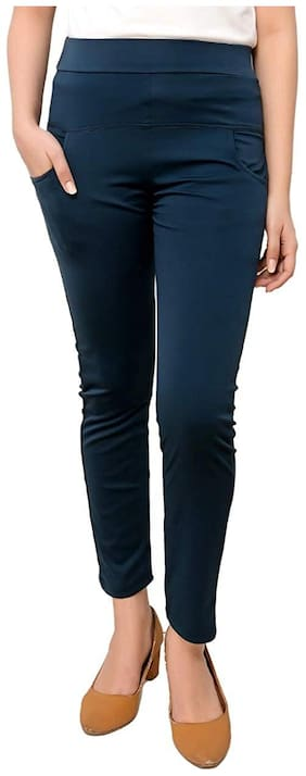 Elendra jeans Cotton blend Solid Jeggings - Blue