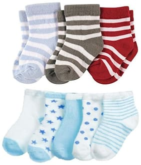 FOOTPRINTS Organic cotton Baby Socks-12-30 Months - Pack of 8 Pairs - Stripes and P5 Blue