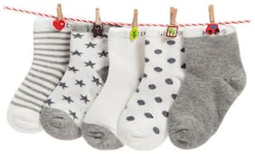 FOOTPRINTS Organic cotton Baby Socks-12-30 Months - Pack of 5 Pairs - Grey