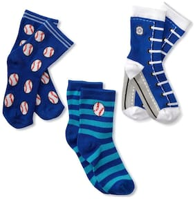FOOTPRINTS Organic cotton Baby Socks-12-30 Months - Pack of 3 Pairs - Blue BaseBall