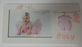 For Arts Sake E7 Baby Girl Pink 4inx6in Photo Frame - Clothes Line HP-WG0370K-46