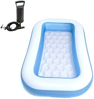 Fossilbeater Combo 6 ft Inflatable Bath Tub with Air Hand Pump (Blue)