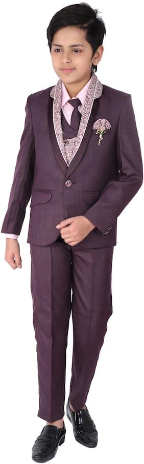 Fourfolds 5 Piece Coat Suit with Shirt Pant Blazer Waistcoat & tie for Kids & Boys (Maroon;White)