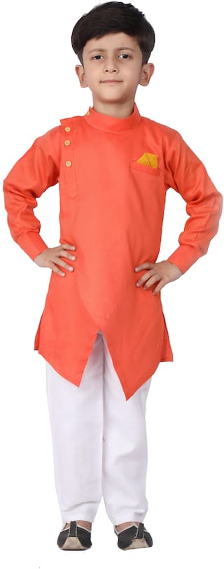 FOURFOLDS Boy Cotton blend Solid Kurta pyjama set - Orange & White