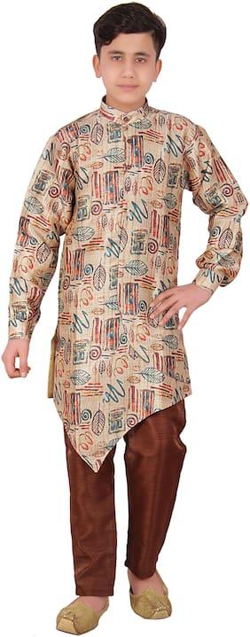 FOURFOLDS Boy Cotton blend Printed Kurta pyjama set - Multi