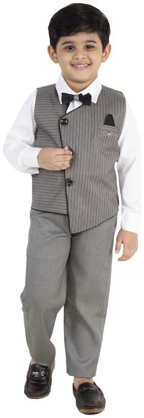 FOURFOLDS Cotton blend Striped Top & Bottom Set - White & Grey