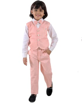 FOURFOLDS Cotton blend Checked Top & Bottom Set - Pink
