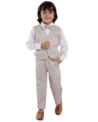 FOURFOLDS Cotton blend Checked Top & Bottom Set - Beige