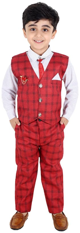 Fourfolds Ethnic Wear 3 Piece Suit Set with Shirt;Trousers and Beautifully Printed Waistcoat for Kids and Boys Red;White