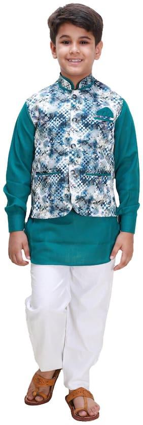 Green;White Kurta Pyjama Set