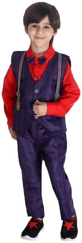 Fourfolds Ethnic Wear 3 Piece Suit Set with Shirt;Trousers and Beautifully Printed Waistcoat for Kids and Boys Red;Blue