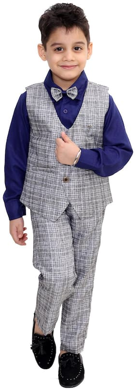 Fourfolds Ethnic Wear 3 Piece Suit Set with Shirt;Trousers and Waistcoat for Kids and Boys_FC035