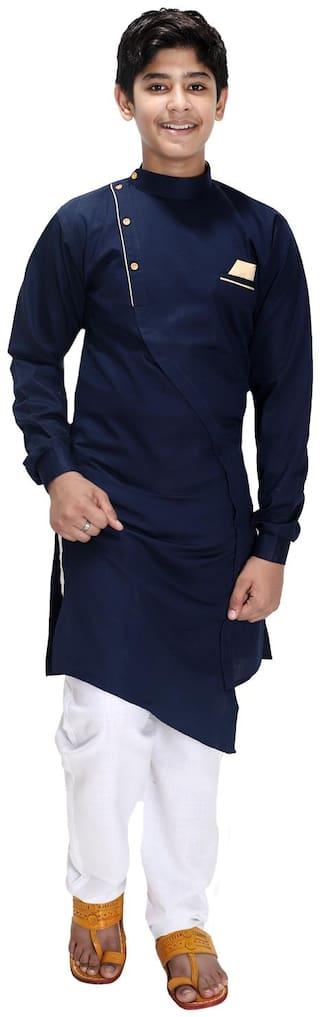 FOURFOLDS Boy Cotton blend Solid Kurta pyjama set - Blue & White