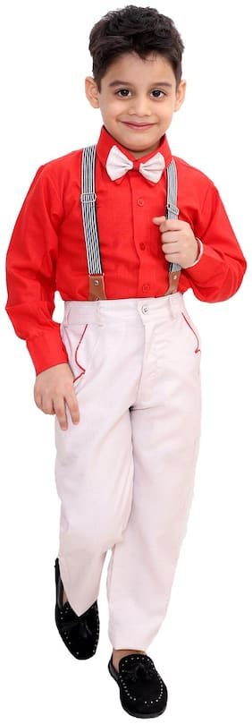Fourfolds Ethnic Wear 3 Piece Suit Set with Bow-Tie;Shirt and Trousers for Kids and Boys_FC046 Red;pink Red;pink