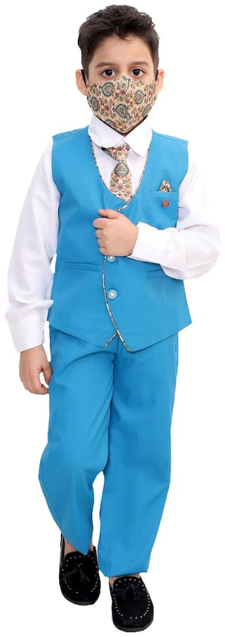 Fourfolds Ethnic Wear 5 Piece Suit Set with Tie;Shirt;Trousers and Waistcoat for Kids and Boys Blue;White