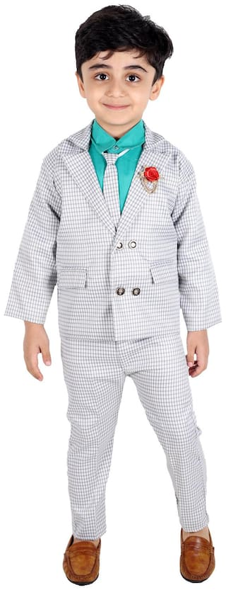 Fourfolds Ethnic Wear 4 Piece Coat Suit Set with Tie,Shirt,Trousers and Blazer for Kids and Boys (Green;Grey)