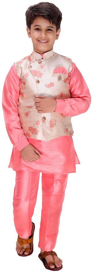 FOURFOLDS Boy Cotton blend Self design Kurta pyjama set - Pink & Cream