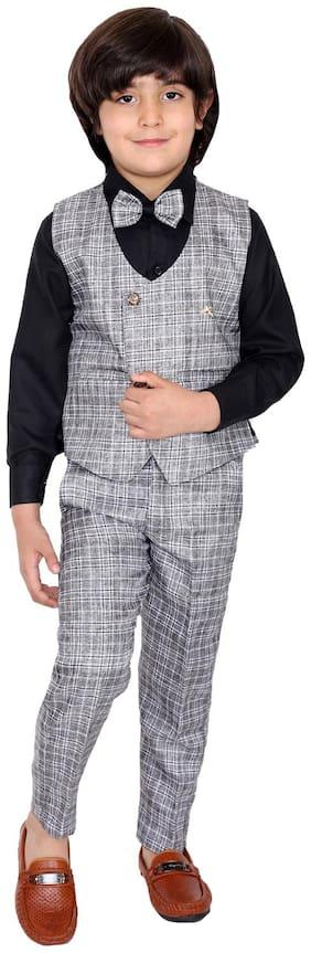 FOURFOLDS Cotton blend Checked Top & Bottom Set - Black & Grey