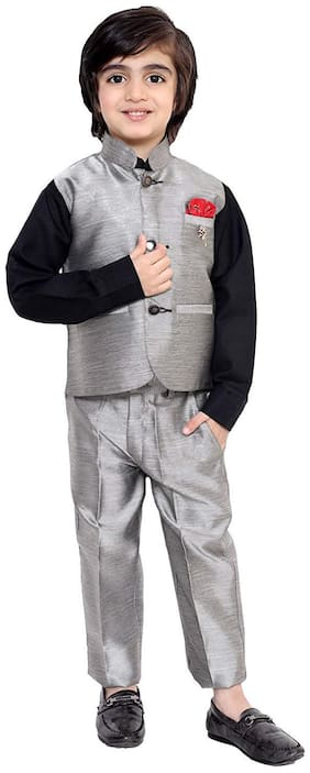 Fourfolds Ethnic Wear 3 Piece Suit Set with Shirt;Trousers and Waistcoat for Kids and BoysGrey;Black