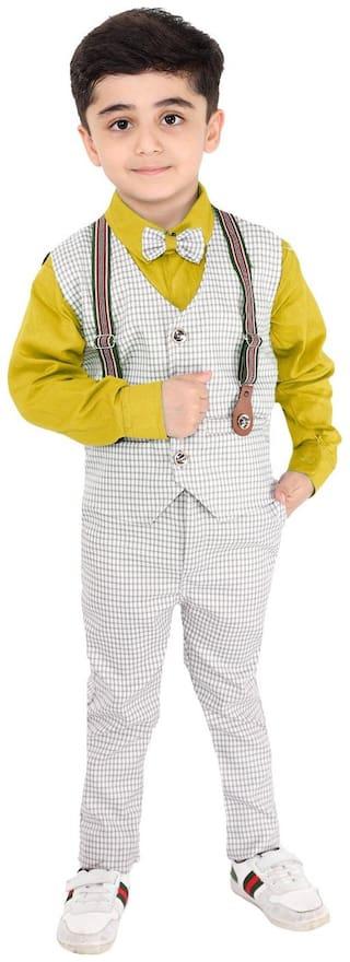 FOURFOLDS Cotton blend Self design Top & Bottom Set - Yellow & Grey