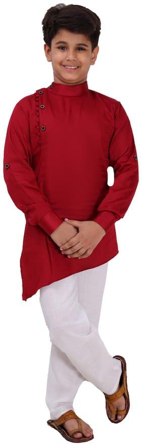 FOURFOLDS Boy Cotton blend Solid Kurta pyjama set - Maroon & White