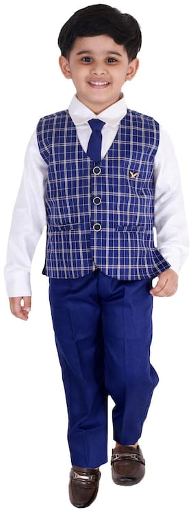 Fourfolds Ethnic Wear 3 Piece Suit Set with Bow-Tie;Shirt;Trousers and Waistcoat for Kids and Boys_FC037 Blue