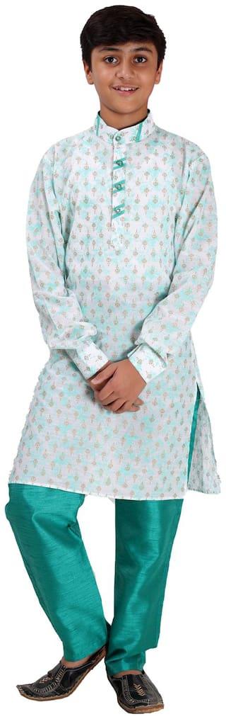 FOURFOLDS Boy Cotton blend Printed Kurta pyjama set - Green & White