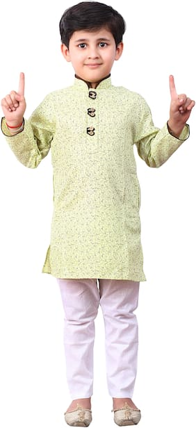 FOURFOLDS Boy Cotton Printed Kurta pyjama set - Green & White
