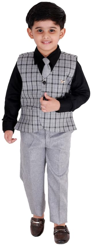 Fourfolds Ethnic Wear 3 Piece Suit Set with Bow-Tie;Shirt;Trousers and Waistcoat for Kids and Boys_FC037 Black