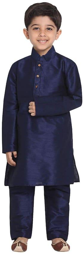 FOURFOLDS Boy Cotton blend Solid Kurta pyjama set - Purple