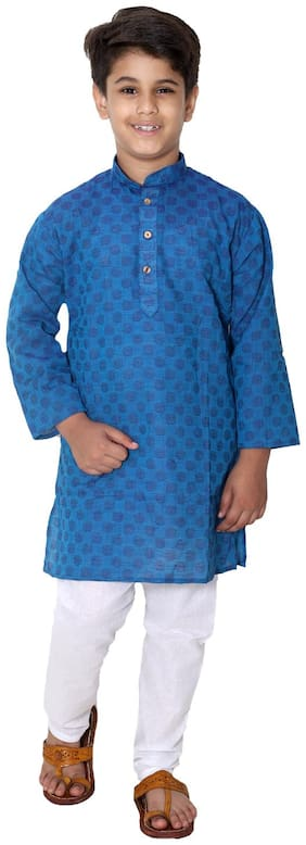 FOURFOLDS Boy Cotton Self design Kurta pyjama set - Blue & White