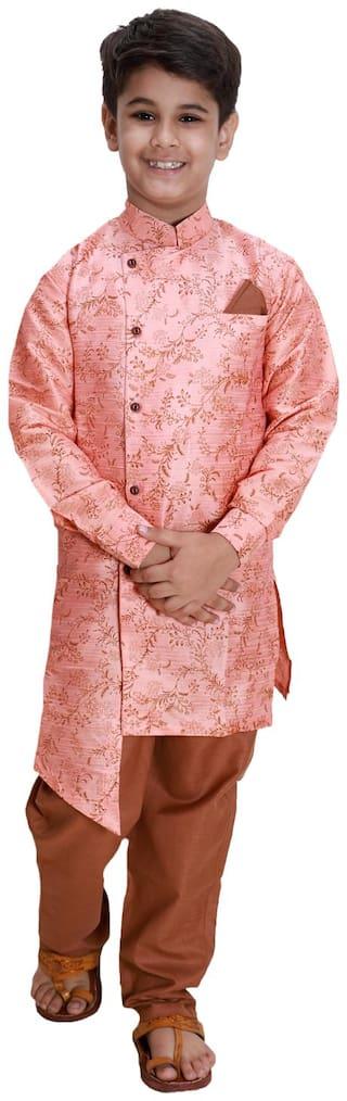FOURFOLDS Boy Cotton blend Printed Kurta pyjama set - Pink & Brown