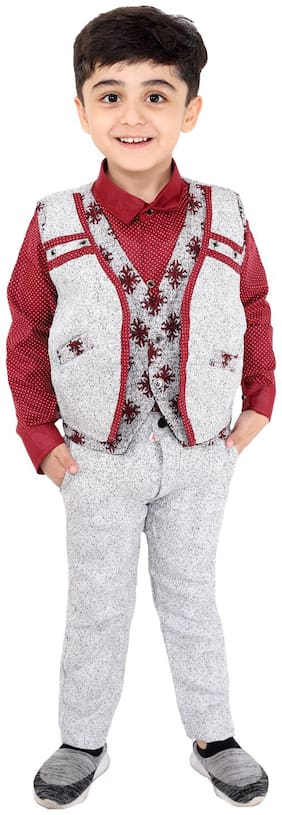Fourfolds Ethnic Wear 4 Piece Suit Set with Shirt Trousers Tie and Waistcoat for Kids and Boys  Maroon;White