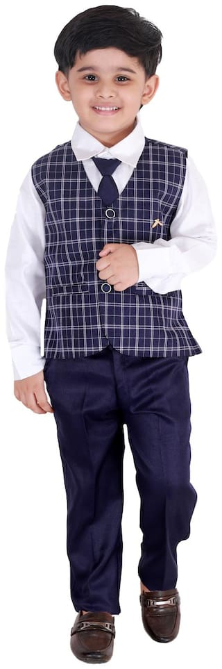Fourfolds Ethnic Wear 3 Piece Suit Set with Bow-Tie;Shirt;Trousers and Waistcoat for Kids and Boys_FC037 Purple